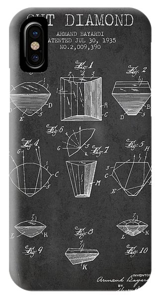 Cut Diamond Patent From 1935 - Charcoal IPhone Case