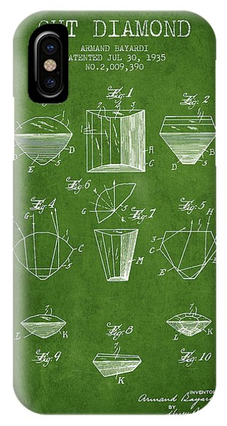 Cut Diamond Patent From 1935 - Green IPhone Case