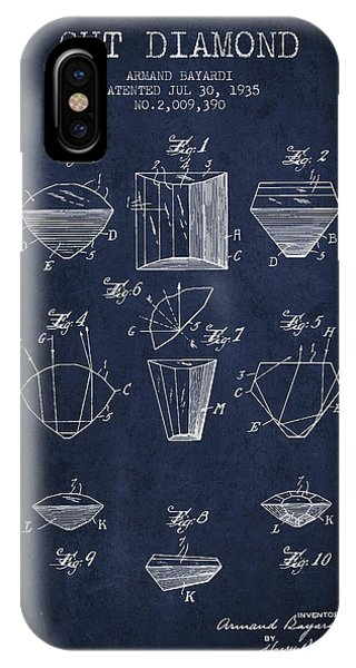 Cut Diamond Patent From 1935 - Navy Blue IPhone Case