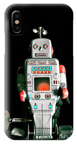 Electronic iPhone Case - Cute 1970s Robot On Black Background by Jorgo Photography - Wall Art Gallery