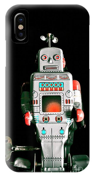 Robot iPhone Case - Cute 1970s Robot On Black Background by Jorgo Photography - Wall Art Gallery