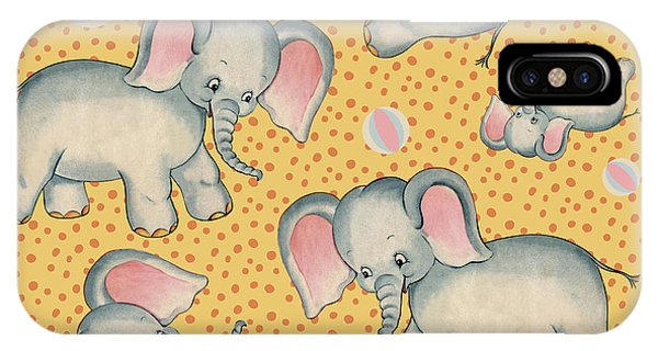 Pajama iPhone X Case - Cute Baby Elephant Pattern Vintage Illustration For Children by Tina Lavoie