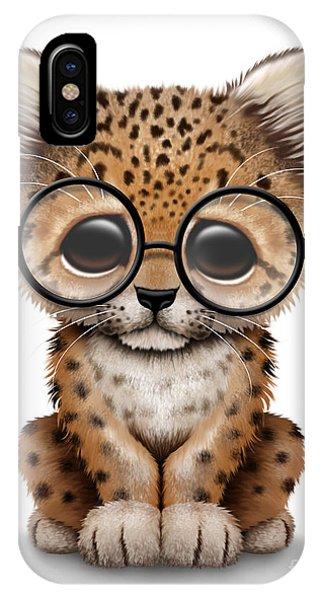 Cute Baby Leopard Cub Wearing Glasses IPhone Case
