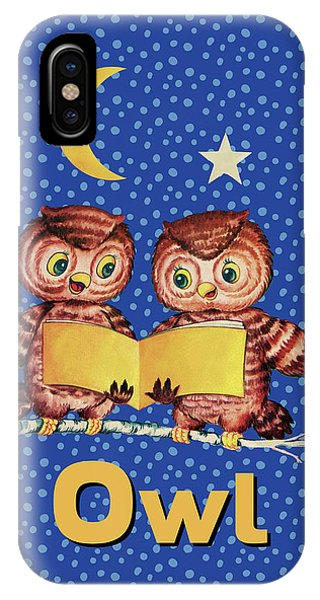 Pajama iPhone X Case - Cute Baby Owls Starry Night And Moon by Tina Lavoie