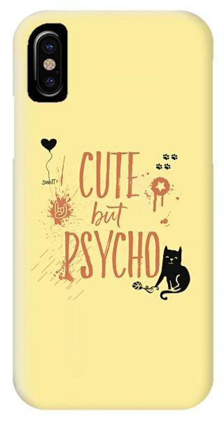 Cat iPhone X Case - Cute But Psycho Cat by Melanie Viola