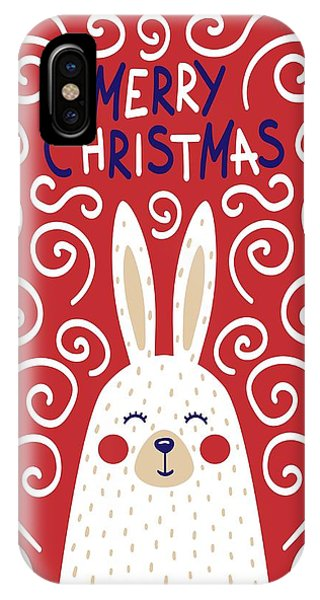 IPhone Case featuring the digital art Cute Christmas Card With A Rabbit In A Scandinavian Style by Christopher Meade
