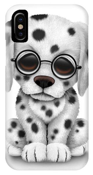 Cute Dalmatian Puppy Dog Wearing Eye Glasses IPhone Case