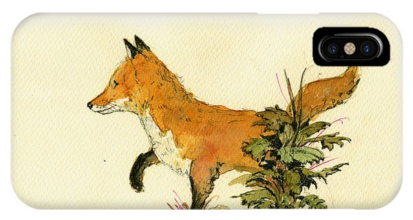 Fox iPhone Case - Cute Fox In The Forest by Juan  Bosco