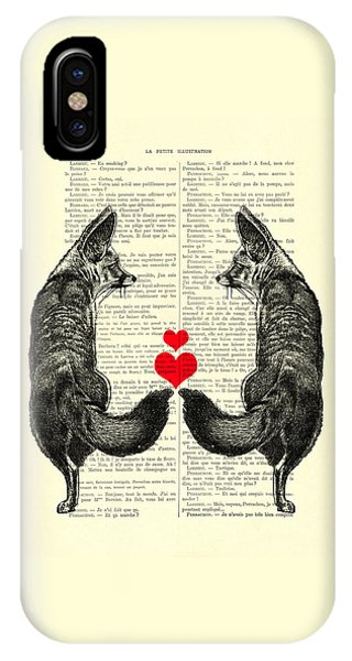 Cupid iPhone Case - Cute Foxes by Madame Memento