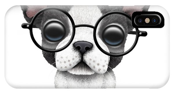 c8bcd23997d Puppy Cartoon iPhone Case - Cute French Bulldog Puppy Wearing Glasses by  Jeff Bartels