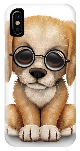 Cute Golden Retriever Puppy Dog Wearing Eye Glasses IPhone Case