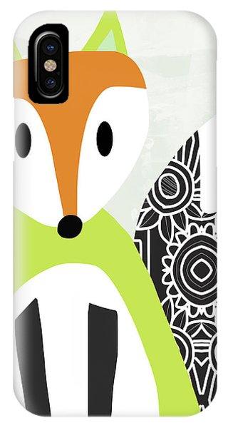 Cartoon iPhone Case - Cute Green And Black Fox- Art By Linda Woods by Linda Woods