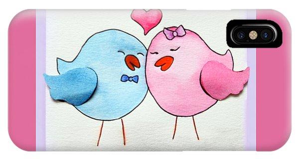 Cute Lovebirds Watercolour IPhone Case