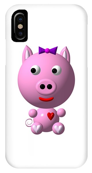Cute Pink Pig With Purple Bow IPhone Case