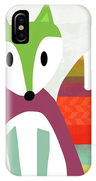 Cartoon iPhone Case - Cute Purple And Green Fox- Art By Linda Woods by Linda Woods