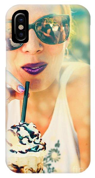 Cream iPhone Case - Cute Retro Girl Drinking Milkshake by Jorgo Photography - Wall Art Gallery