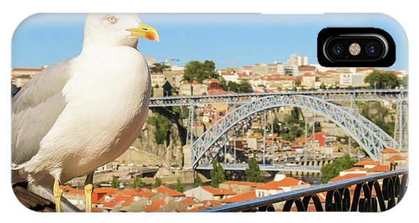 Cute Seagull And Porto's Cityscape IPhone Case
