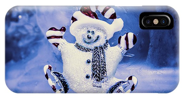 Snowy iPhone Case - Cute Snowman In Ice Skates by Jorgo Photography - Wall Art Gallery
