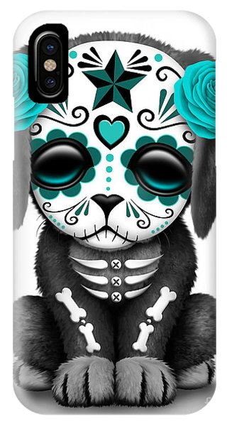 Cute Teal Blue Day Of The Dead Sugar Skull Dog  IPhone Case
