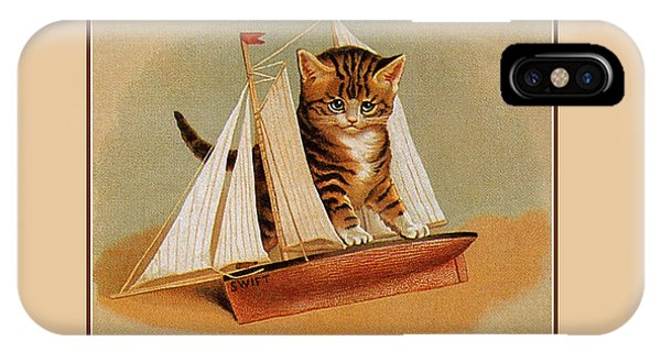 Cute Victorian Kitten, Wooden Toy Ship IPhone Case