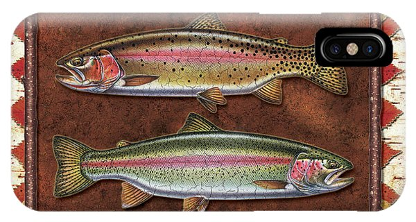 Trout iPhone Case - Cutthroat And Rainbow Trout Lodge by JQ Licensing