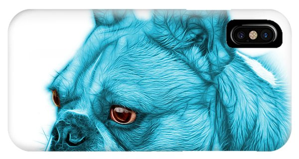 Cyan French Bulldog Pop Art - 0755 Wb IPhone Case