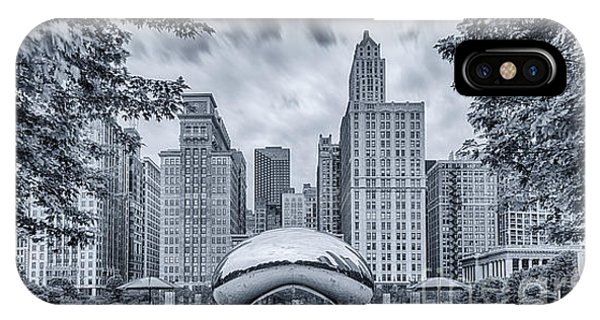Chicago Skyline Art iPhone Case - Cyanotype Anish Kapoor Cloud Gate The Bean At Millenium Park - Chicago Illinois by Silvio Ligutti