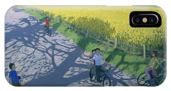 Cyclists And Yellow Field IPhone Case