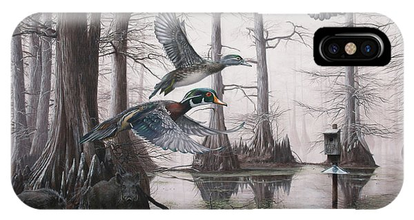 Wood Ducks iPhone Case - Cypress Bayou Neighbors by Glenn Pollard