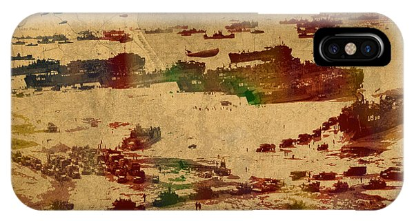Normandy iPhone Case - D Day Landing At Normandy France World War Two Watercolor On Old Canvas Map Of War Plans by Design Turnpike
