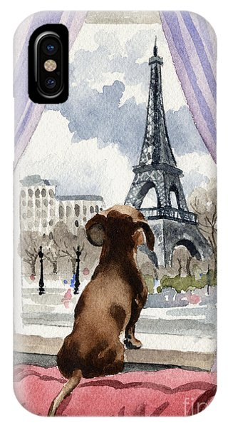 Paris iPhone Case - Dachshund In Paris by David Rogers