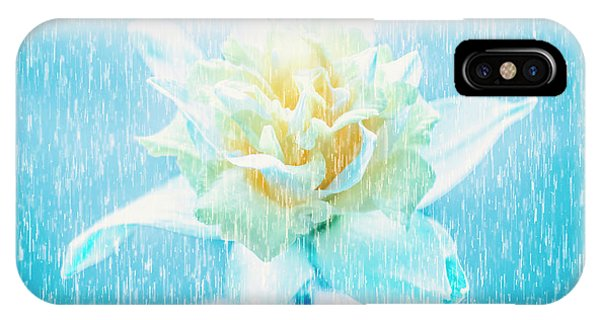 Digital Effect iPhone Case - Daffodil Flower In Rain. Digital Art by Jorgo Photography - Wall Art Gallery