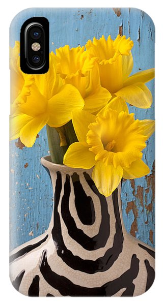 Yellow Trumpet iPhone Case - Daffodils In Wide Striped Vase by Garry Gay