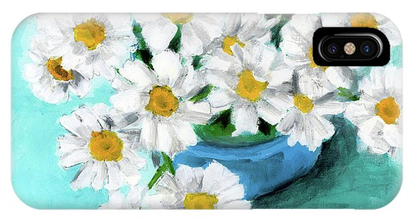 Daisies In Blue Bowl IPhone Case