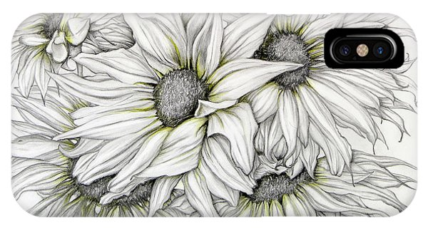 IPhone Case featuring the drawing Sunflowers Pencil by Melinda Blackman