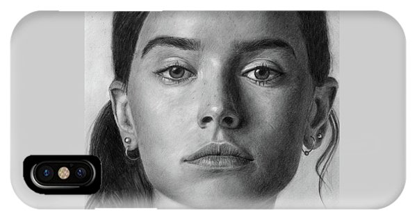 Daisy Ridley Pencil Drawing Portrait IPhone Case