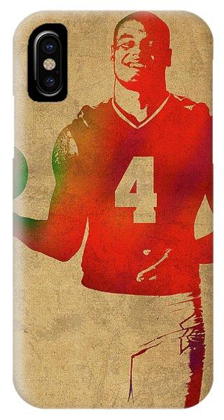 Dak Prescott Nfl Dallas Cowboys Quarterback Watercolor Portrait IPhone Case