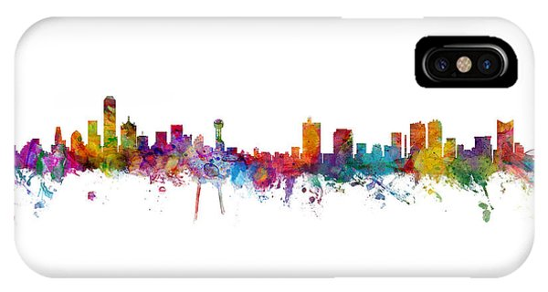 Fort iPhone Case - Dallas And Forth Worth Skyline Mashup by Michael Tompsett