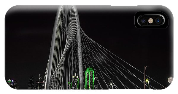 Dallas Nightscape With Green IPhone Case