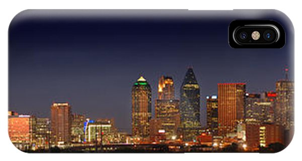 Texas iPhone Case - Dallas Skyline At Dusk Big Moon Night  by Jon Holiday