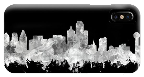 Dallas Skyline Black And White 2 IPhone Case