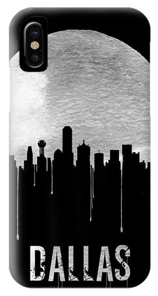 Moon iPhone X Case - Dallas Skyline Black by Naxart Studio