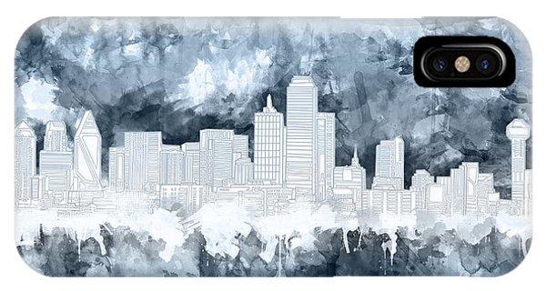 Dallas Skyline Brush Strokes Blue 2 IPhone Case