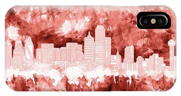 Dallas Skyline Brush Strokes Red IPhone Case
