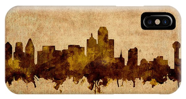 Dallas Skyline Grunge Sepia IPhone Case