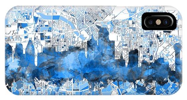 Dallas Skyline Map Blue 2 IPhone Case