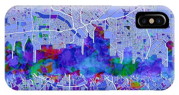 Dallas Skyline Map Blue IPhone Case