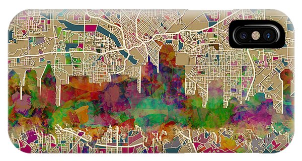 Dallas Skyline Map Color IPhone Case