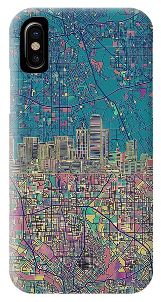 Dallas Skyline Map Green IPhone Case