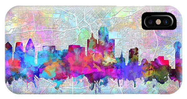 Dallas Skyline Map Purple IPhone Case